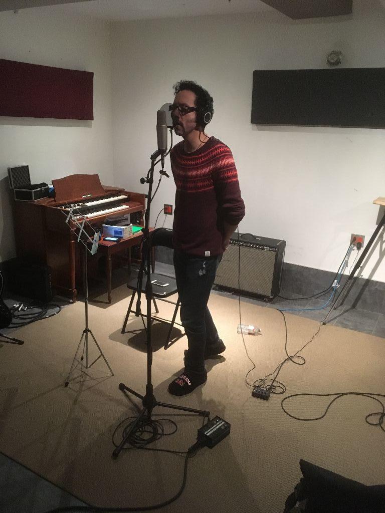 Arturo recording vocals